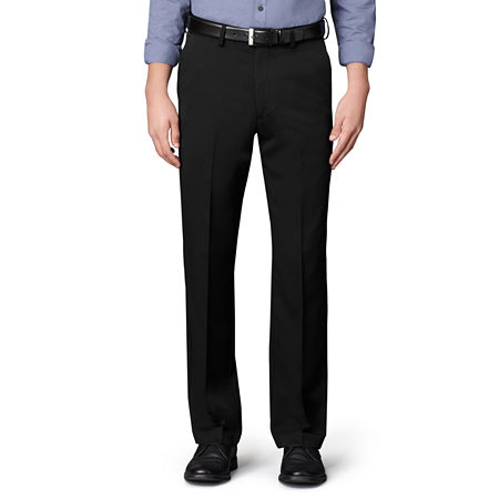 Men's Van Heusen No-Iron Extender Flat-Front Pants-Big & Tall, 38 38, Black