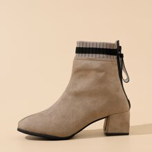 Back Zipper Chunky Heeled Ankle Boots