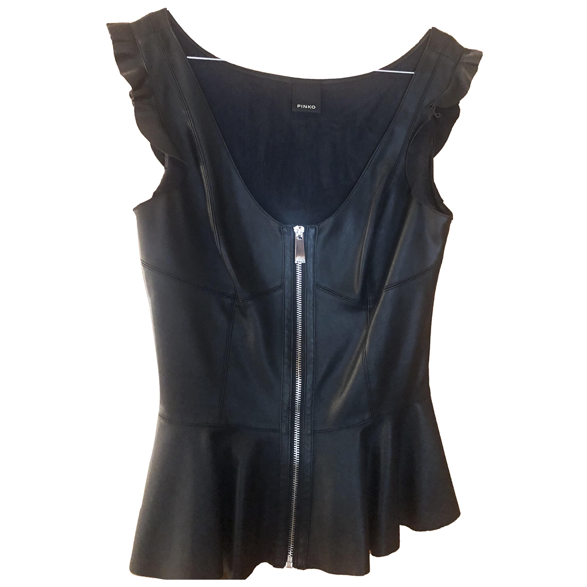 Pinko \N Black Leather  top for Women 38 IT