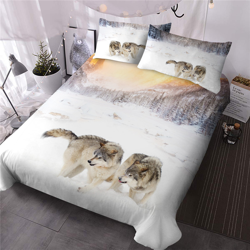 3D Wolf Print Comforter Set Reactive Cool Zipper Wildlife Printing Three-Piece Set Polyester Bedding Sets