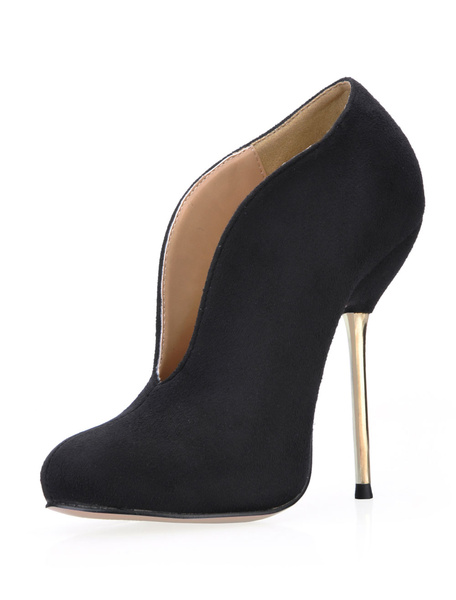 Milanoo Grace Black Stretch Satin Sanding High Heel Booties for Woman