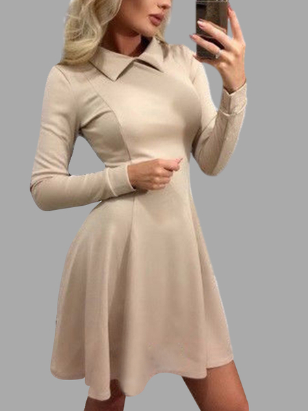 Yoins Perkins Collar Pleated Hem Casual Dress in Khaki