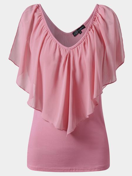 Yoins Pink Tiered Design V-Neck Cold Shoulder Blouses