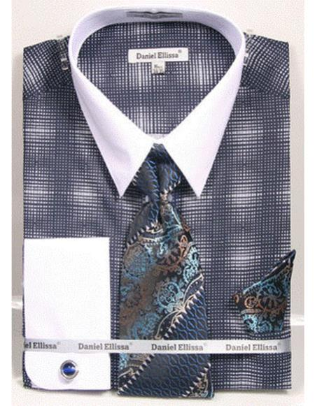 Mens white Collared French Cuffed navy woven design Shirt Tie/Hanky