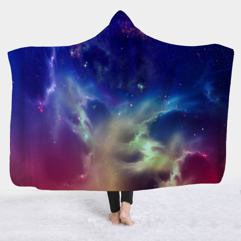 Fantastic 3D Galaxy View Wearable Hooded Blanket
