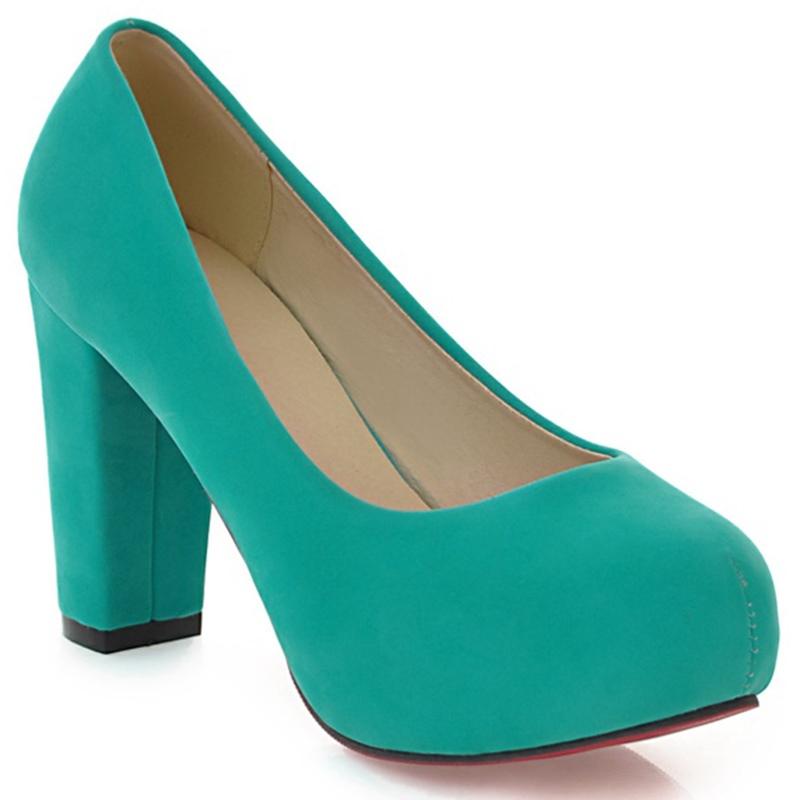 Ericdress Elegant Suede Round Toe Chunky Heel Pumps