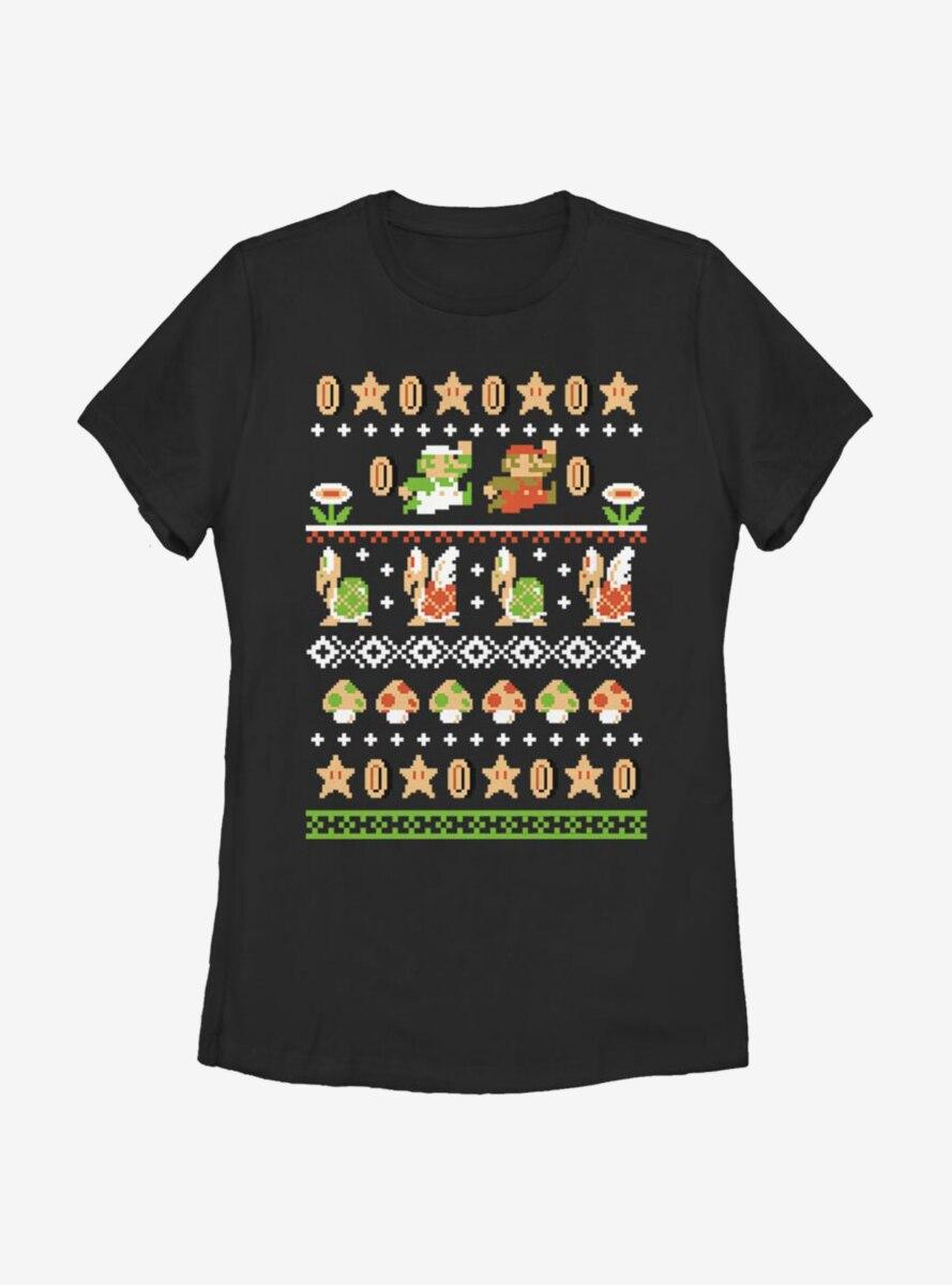 Nintendo Super Mario Christmas Pattern Womens T-Shirt