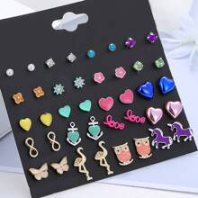 20pairs Heart & Unicorn Design Stud Earrings