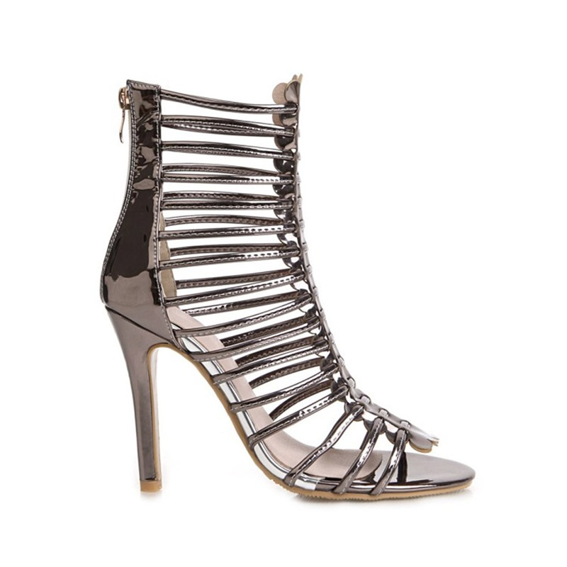 Ericdress Zipper Stiletto Heel Open Toe Zipper Sandals