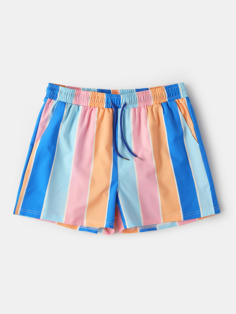 Mens Mesh Lined Lightweight & Quick Dry Swim Trunks Colorful Stripe Holiday Surfing Board Shorts