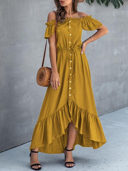 Milanoo Summer Dress Green Solid Color Bateau Neck Chiffon Beach Dress