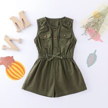 Baby Girl Button Front Flap Pocket Utility Romper