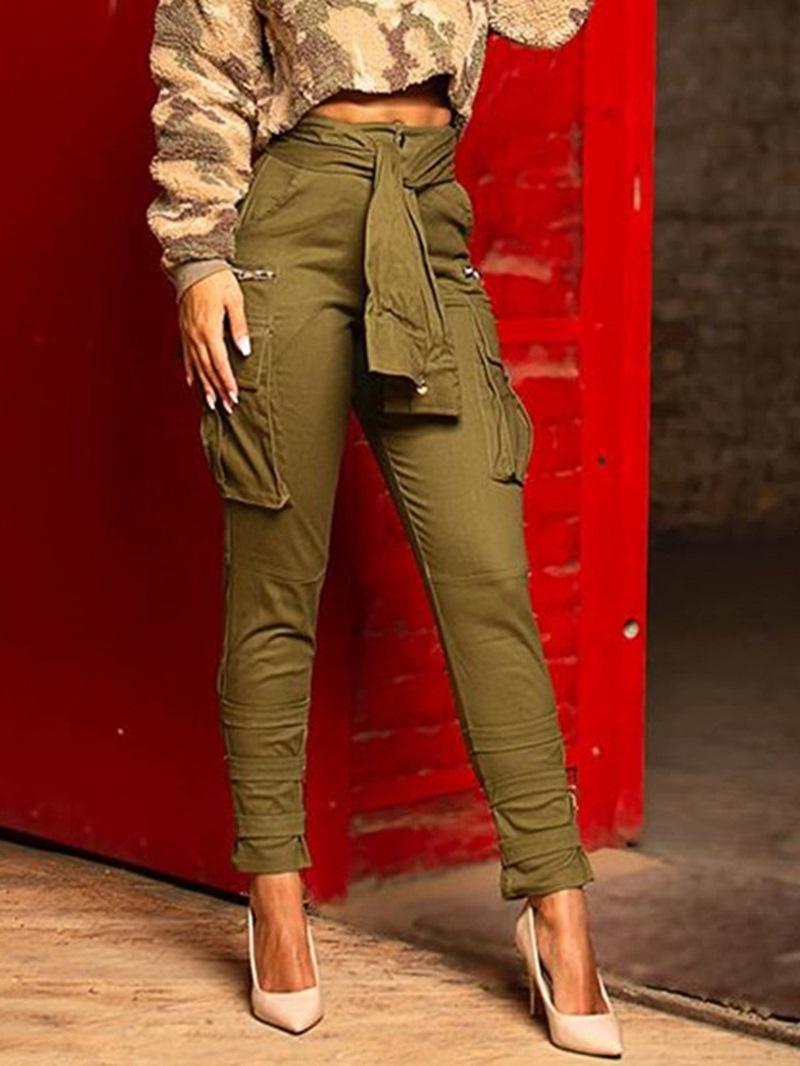 Ericdress Lace-Up Slim High Waist Pencil Women's Casual Pants
