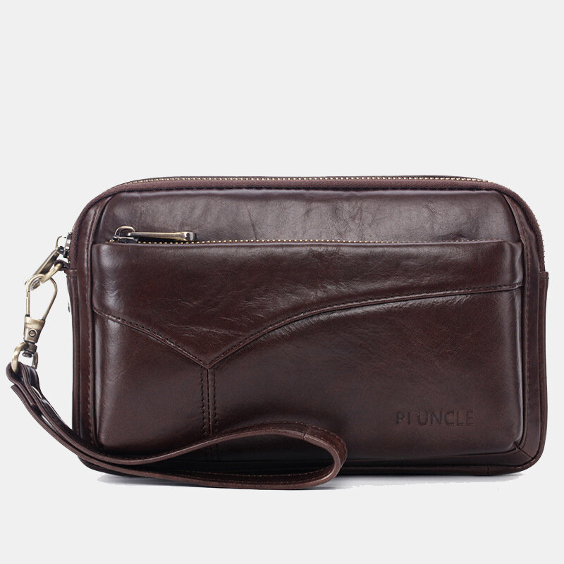 Men Genuine Leather Phone Bag Solid Clutch Bags