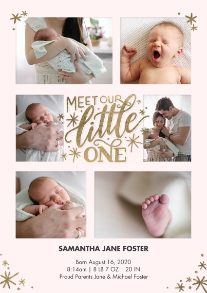 Baby Announcements 5x7 Cards, Premium Cardstock 120lb with Rounded Corners, Card & Stationery -Baby Gold Lettering by Tumbalina