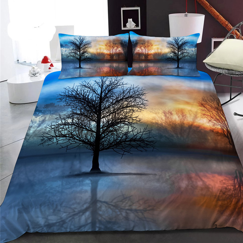 Black Branch and Sunrise 3D Printed Polyester 1-Piece Warm Quilt