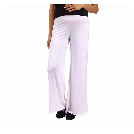 24/7 Comfort Apparel Womens Over Belly Palazzo Pant-Plus Maternity, 3x , White