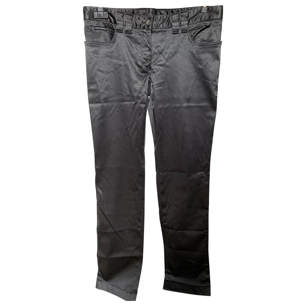 Dolce & Gabbana \N Purple Silk Trousers for Women 44 FR