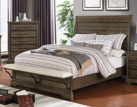 Gilbert Collection CM7894EK-BED Eastern King Size Bed with Plank Style Headboard  Steel-Supported Padded Fabric Footboard and Bracket Feet in Light