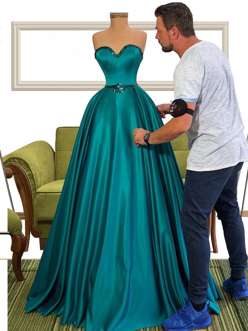 Ericdress Sleeveless A-Line Beading Strapless Evening Dress 2020