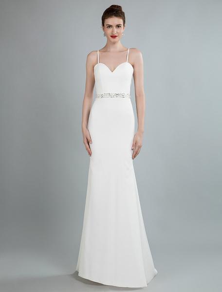 Milanoo Simple Wedding Dress Sheath Sweetheart Neck Long Sleeves Beaded Bridal Dresses With Train