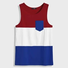 Men Colorblock Pocket Front Tank Top
