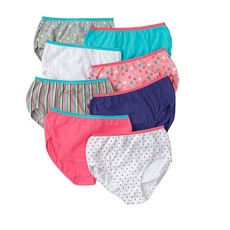 Hanes Little & Big Girls 8 Pack Brief Panty, 10 , Multiple Colors