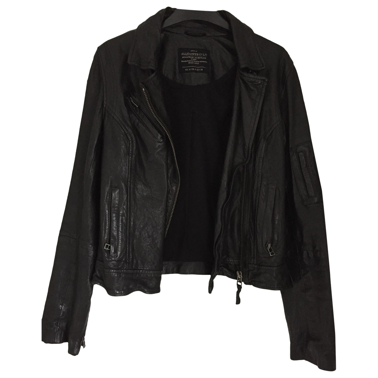All Saints \N Black Leather Leather jacket for Women 10 UK