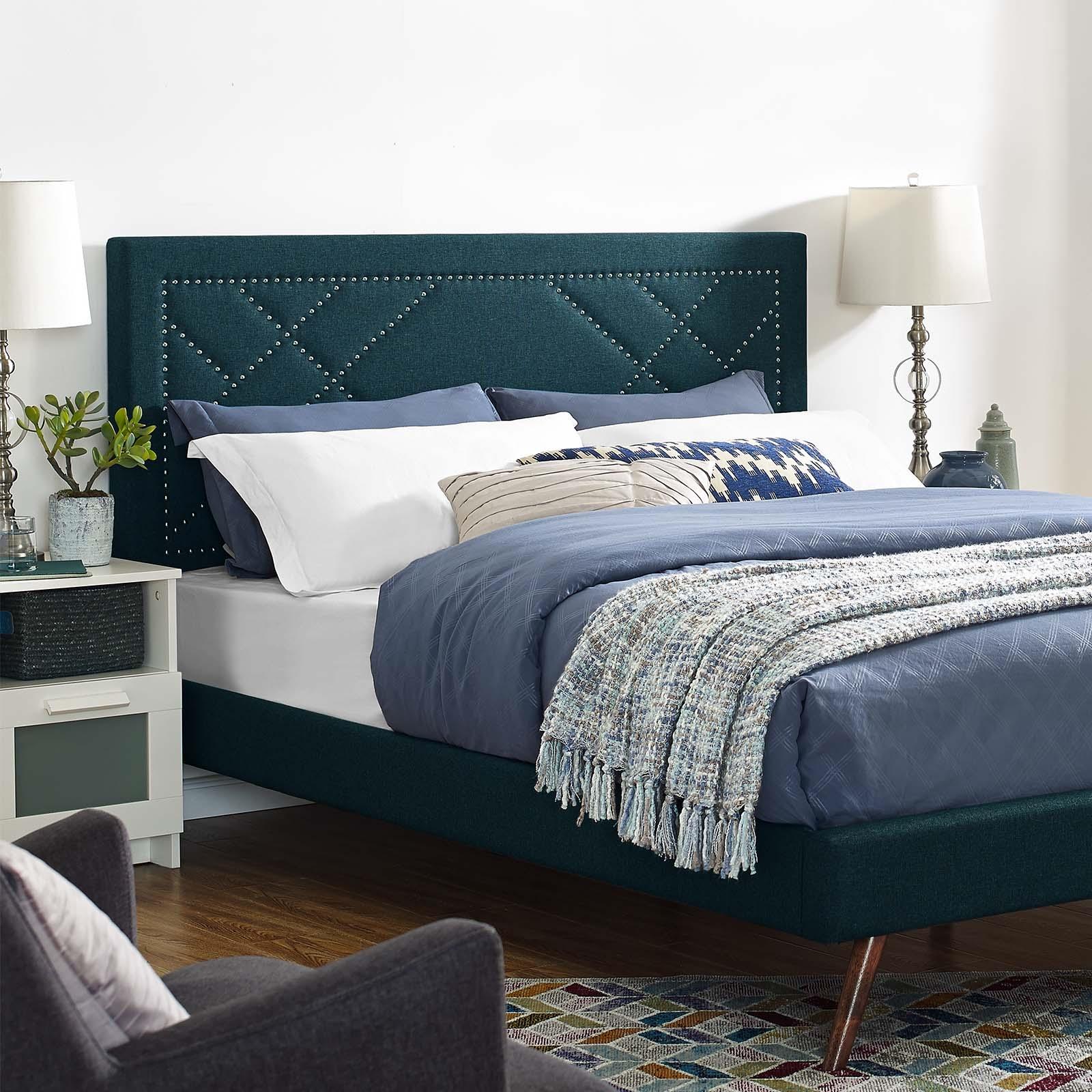 Reese Nailhead Full / Queen Upholstered Linen Fabric Headboard in Azure