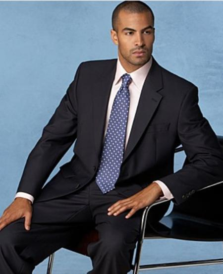 Mens Vented NonPleated Solid Black Suit