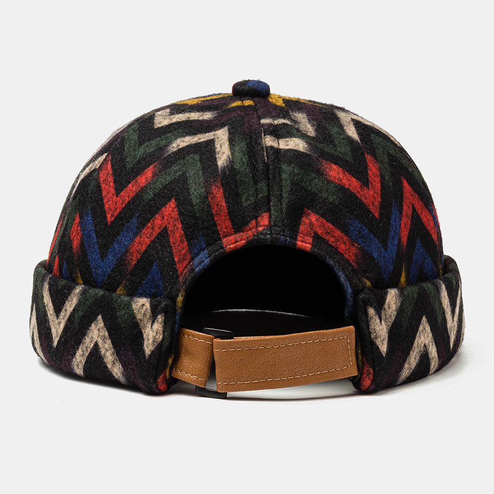 Plush Soft Fabric Wavy Pattern Brimless Skull Caps Wave Cap With Folk-custom