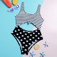 Girls Star & Striped Cut-out One Piece Swimsuit