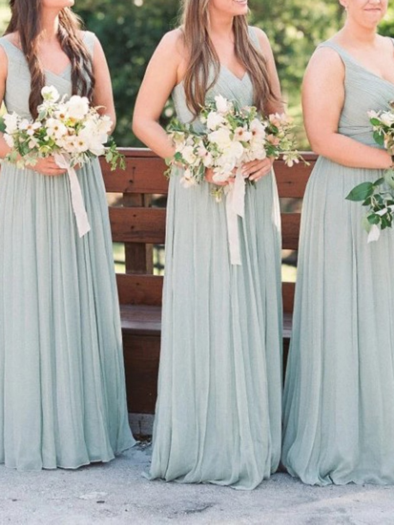 Ericdress A-Line V-Neck Ruched Bridesmaid Dress