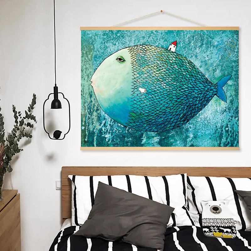 Modern Watercolor Big Fish Canvas Print Poster Abstract Animated Wall Art Kids Room Home Decor