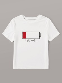Low Battery Graphic Short Sleeve Tee