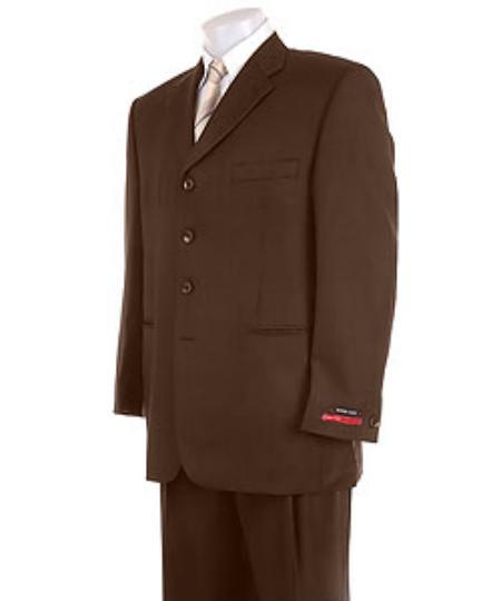 Mens Solid Brown 4 Buttons Super Pleated Pants  Online  Suit
