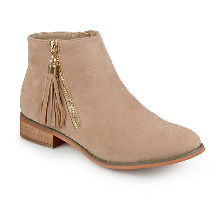 Journee Collection Womens Trista Ankle Booties, 11 Medium, Beige