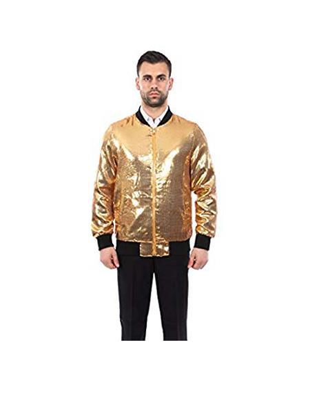 Mens Jacket Slim Fit Sequin Pattern Gold Blazer Bomber Jacket