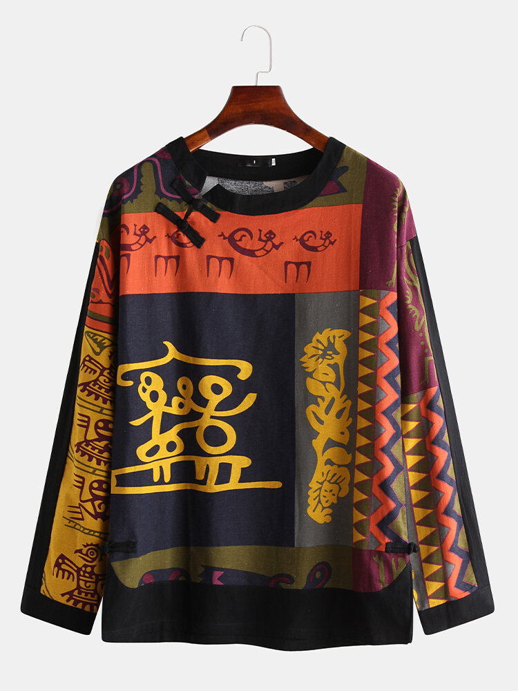 Mens Chinese Style Linen Ethic Elephant Print Long Sleeve T-shirts