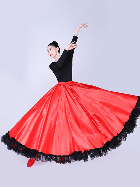 Milanoo Paso Doble Dance Skirt Lace Ruffle Full Swing Latin Dancer Performace Dress