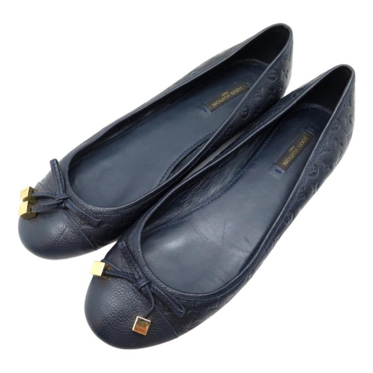 Louis Vuitton \N Navy Leather Ballet flats for Women 39 EU