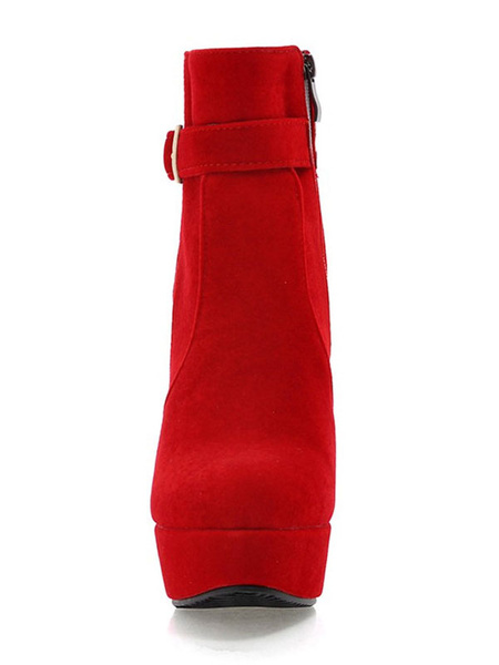 Milanoo Red Ankle Boots Women Suede Boots Platform Round Toe High Heel Booties