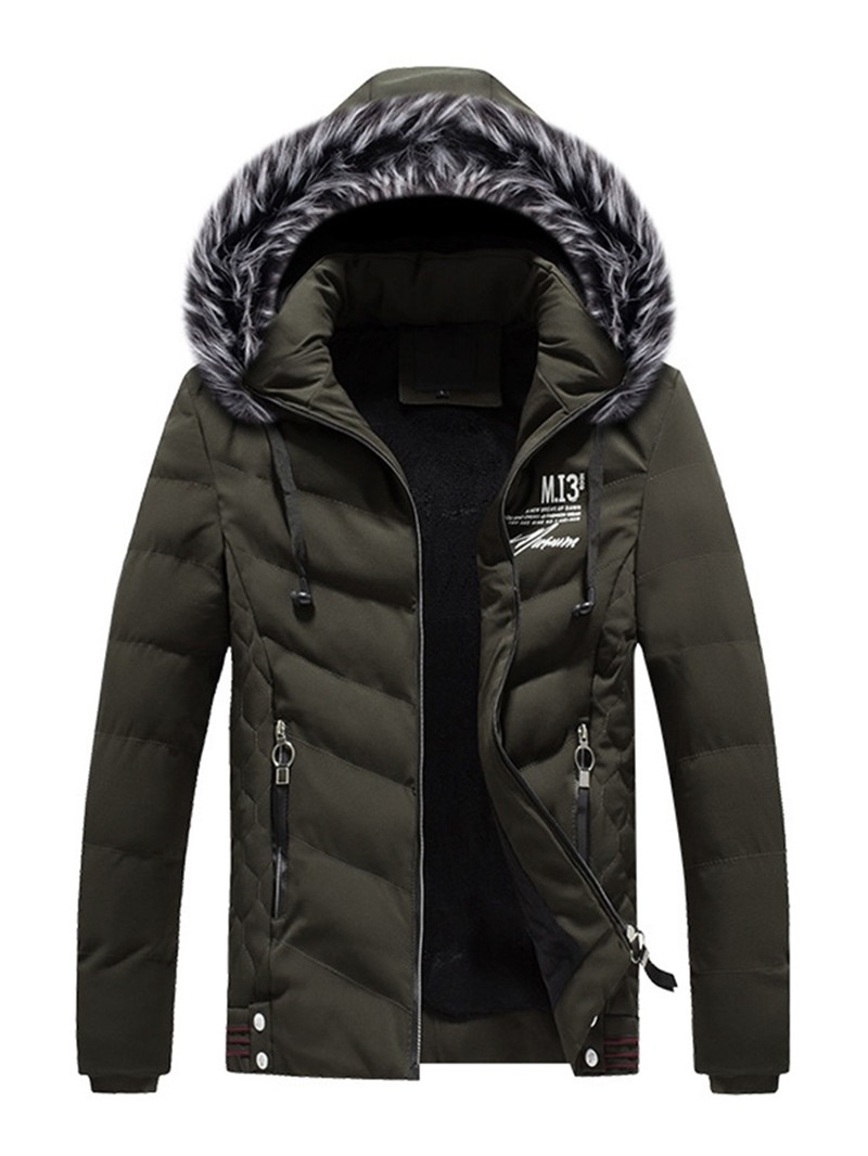 Ericdress Printed Zipper Hooded Thick Mens Down Coats