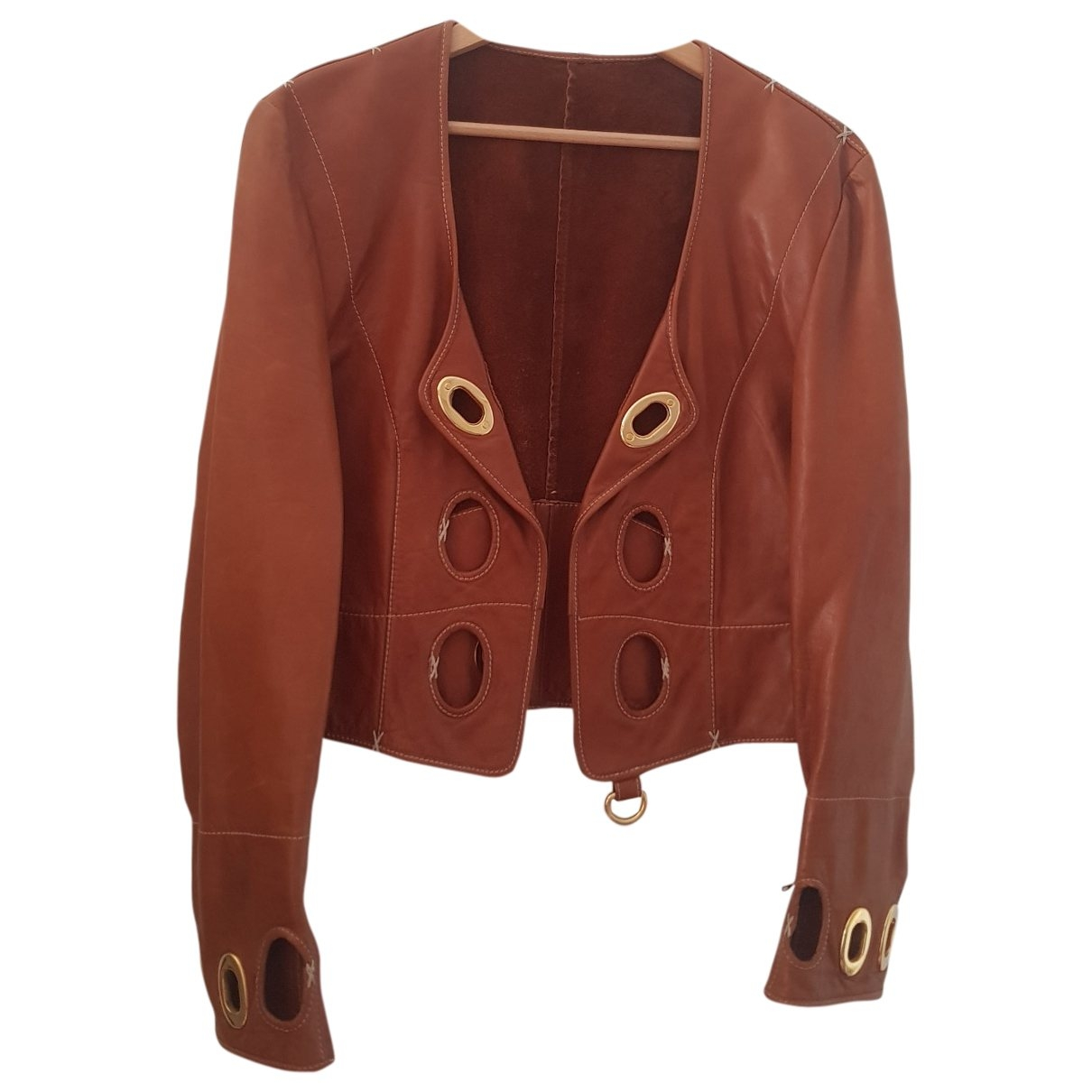 Gianfranco Ferré \N Brown Leather Leather jacket for Women 44 IT