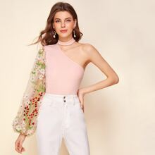 One Shoulder Floral Embroidered Mesh Sleeve Rib-knit Top