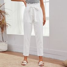Paperbag Waist Fold Pleated Front Self Belted Pants