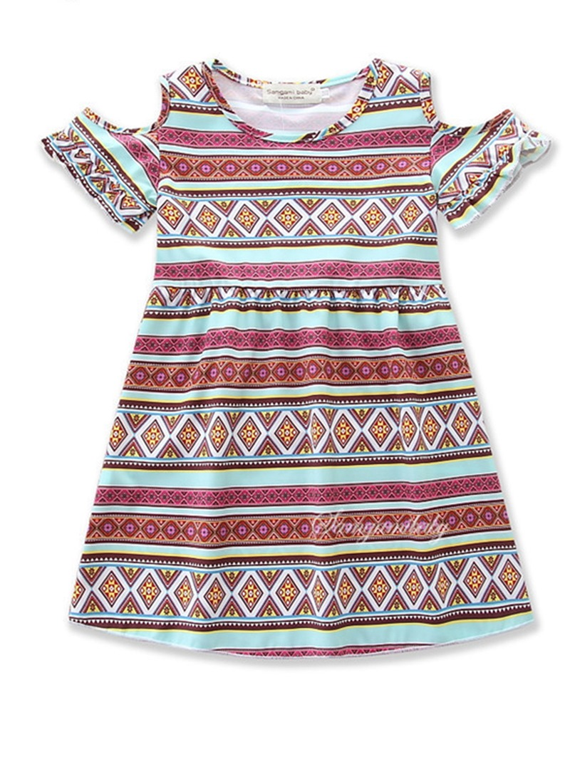 Ericdress Off-shoulder Geometric Print Girls' Dress