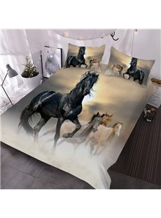 Black Horse 3D Animal Pattern 3-Piece Comforter Sets with 2 Matching Pillow Covers