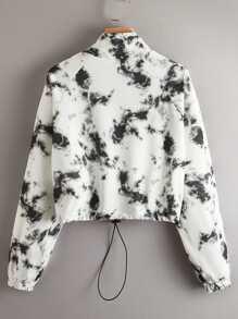 Zip Half Placket Raglan Sleeve Drawstring Hem Tie Dye Pullover