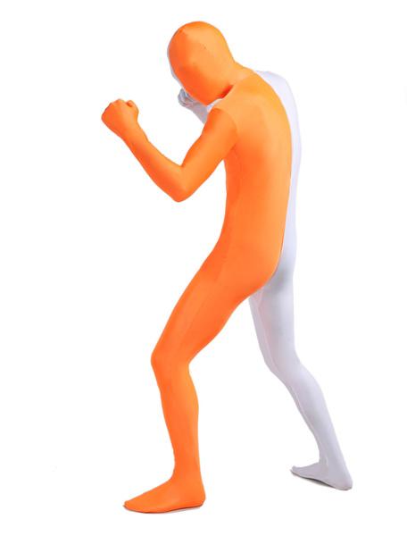 Milanoo Morph Suit White and Orange Lycra Spandex Zentai Suit Unisex Full Body Suit